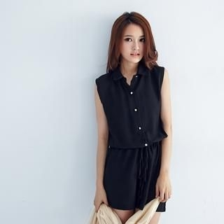 BAIMOMO - Drawstring-Waist Chiffon Sleeveless Playsuit