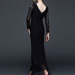 Dream a Dream - Long-Sleeve Lace Frilled Maxi Dress