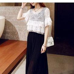 Oaksa - Set: Short-Sleeve Frilled Trim Pleated Top + Sleeveless Maxi Dress