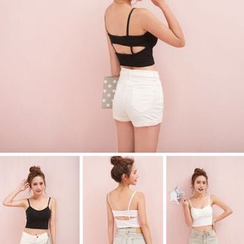 ALIN STYLE - Plain Cut Out Back Cropped Camisole Top