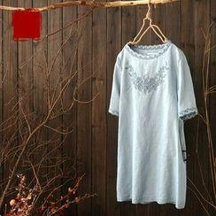 Rosadame - 刺繡短袖連衣裙