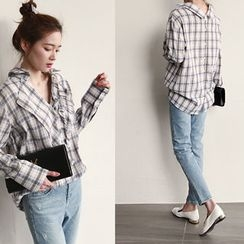 NIPONJJUYA - Frill-Front Button-Back Plaid Shirt