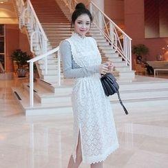Seoul Fashion - Set: Layered Lace Dress + Long-Sleeve Dress