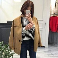 Alfie - Loose-Fit Stand-Collar Woolen Jacket