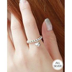 Miss21 Korea - Heart Charm Ball-Chain Silver Ring