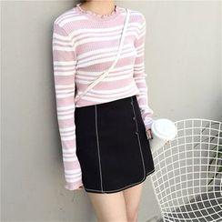 Mayflower - Buttoned Contrast Trim A-Line Skirt