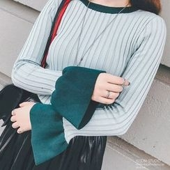 Bloombloom - Tipped Long Sleeve Knit Top