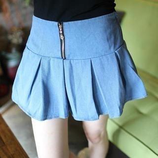 Mini Jule - Zip-Front Pleated Denim Skirt
