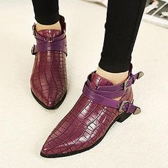 Mancienne - Pointy-Toe Croc-Grain Ankle Boots