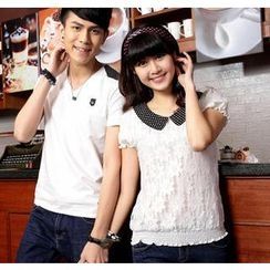 Porspor - Short-Sleeve Dotted Couple T-Shirt