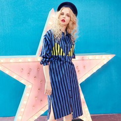 ELF SACK - Long-Sleeve Contrast-Color Striped Shirtdress