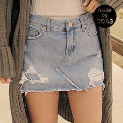 Seoul Fashion - Inset Under-Shorts Denim Mini Skirt