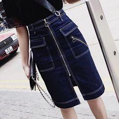 SHERRY - High Waist Front Zip Midi Denim Skirt
