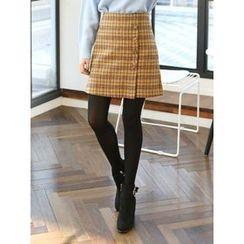 LOLOten - Buttoned Plaid A-Line Mini Skirt