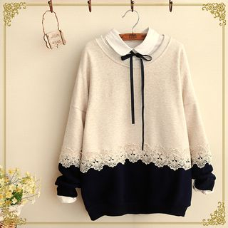 Fairyland - Two-Tone Lace Trim Pullover