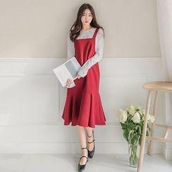 Seoul Fashion - Ruffle-Hem Long Jumper Dress