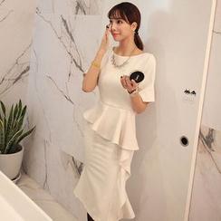 Seoul Fashion - Elbow-Sleeve Ruffled Peplum Dress