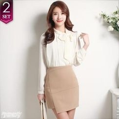 Romantic Factory - Set: Tie-Neckline Chiffon Top + Asymmetric-Hem Miniskirt