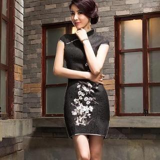 Miss Four Qipao - Cap-Sleeve Embroidered Cheongsam