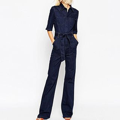 Richcoco - Elbow-Sleeve Denim Jumpsuit