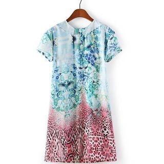 JVL - Short-Sleeve Leopard-Print Floral Dress