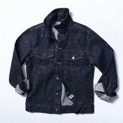 THE COVER - Collared Dual-Pocket Denim Jacket