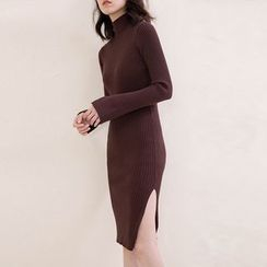 ELLY - Mock Neck Rib Knit Dress