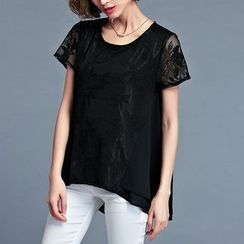 Mythmax - Short-Sleeve Embroidered Top