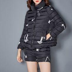 NINETTE - Set: Stand-Collar Printed Padded Zip Jacket + Printed Padded Shorts