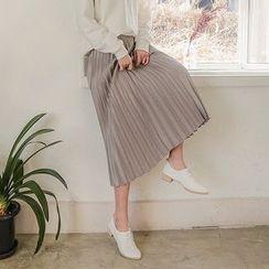 Seoul Fashion - Banded-Waist Pleated Maxi Skirt