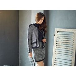 UUZONE - Fringed Tweed Jacket