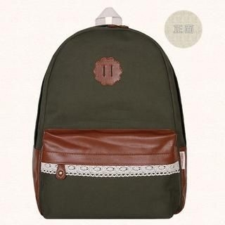 SUPER LOVER - Faux-Leather Trim Appliqué Canvas Backpack