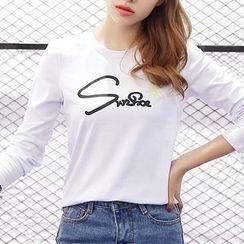 Q.C.T - Letter Long-Sleeve T-shirt