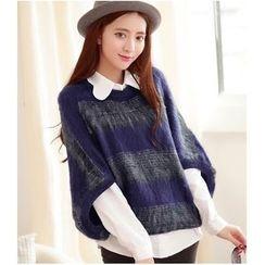 Oaksa - Striped Furry Elbow Sleeve Sweater