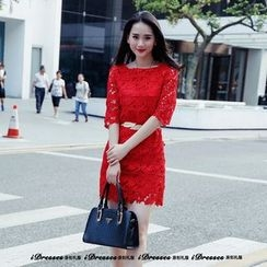 idresses - Crochet Lace Elbow-Sleeve Shift Dress