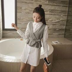 ever after - Set: Long-Sleeve Plain Shirtdress + V-Neck Vest