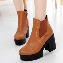 Tomma - Platform Block Heel Short Boots