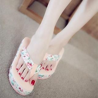 DreamyShow - Printed Wedge Flip-Flops