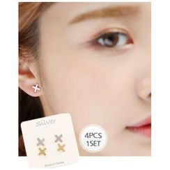 Miss21 Korea - Cross Earrings (4 pcs)