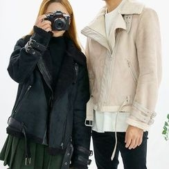 Seoul Homme - Couple Funnel-Neck Faux-Shearling Jacket