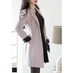 MyFiona - Contrast-Cuff One-Button Slim-Fit Coat