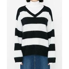 Someday, if - V-Neck Striped Wool Blend Knit Top