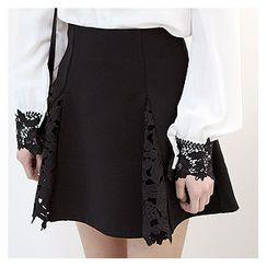 Sechuna - Inset-Shorts Lace-Godet Mini A-Line Skirt
