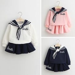 Cuckoo - Kids Set: Sailor Collar Letter Top + Pleated Skirt