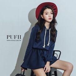 PUFII - Fleece-Lined  Hooded Dress