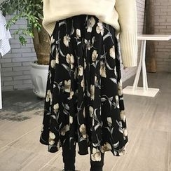 Queen Bee - Floral Print Midi Skirt