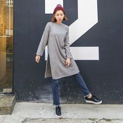 Seoul Fashion - Slit-Hem Long Knit Top