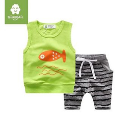 Endymion - Kids Set: Fish Print Tank Top + Stripe Pants