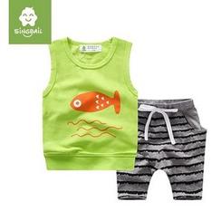 Endymion - Kids Set: Fish Print Tank Top + Stripe Pants