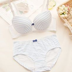 Chanions - Set: Patterned Lace Panel Bra + Panties